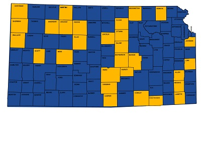 The yellow counties are receiving funding.