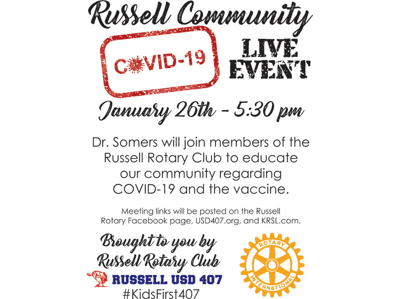 Russell Community COVID-19 Q&A Live Event Flyer