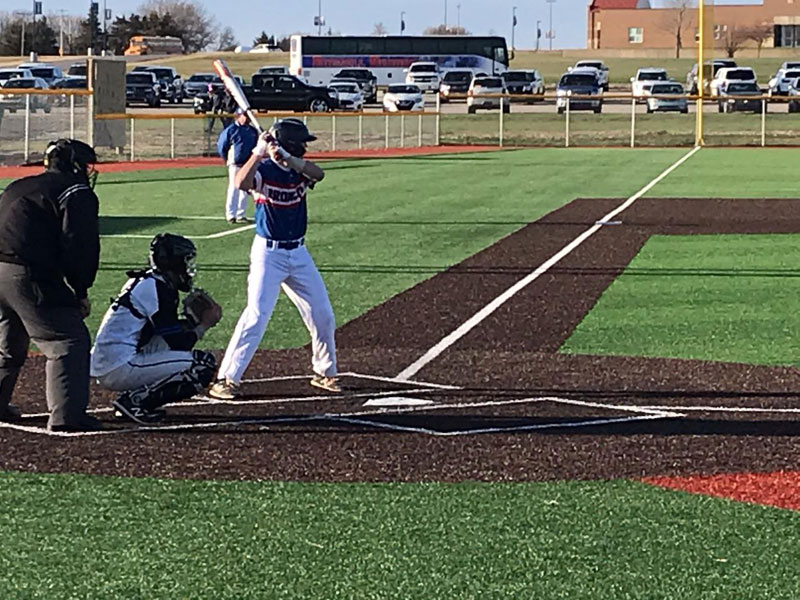 The Russell/Victoria baseball team opened its season at Rock Creek on Tuesday, March 30. (Photo courtesy Matt Walters)