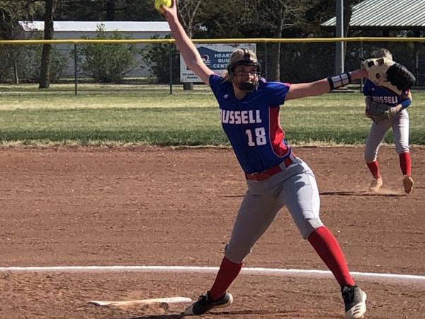 Russell/Victoria's Brooklyn Nowak pitching during Tuesday's doubleheader against Ellsworth.
