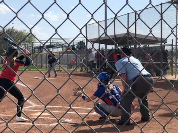 Russell/Victoria catcher Taylor Powers behind the plate in a doubleheader vs. Ellsworth on April 6, 2021 in Russell.