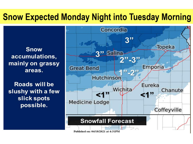 "Russell area could see 2-4"" of snow Monday night into early Tuesday. (Source NWS in Wichita)"
