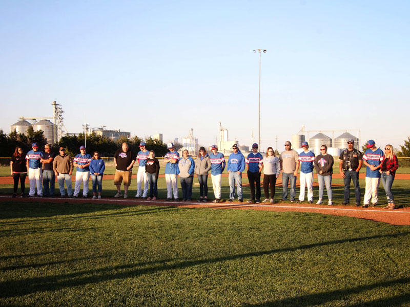 Russell-Victoria seniors and their parents were recognized during Tuesday's doubleheader at the Shaffer Sports Complex in Russell. (Photo courtesy of Chris Roth)