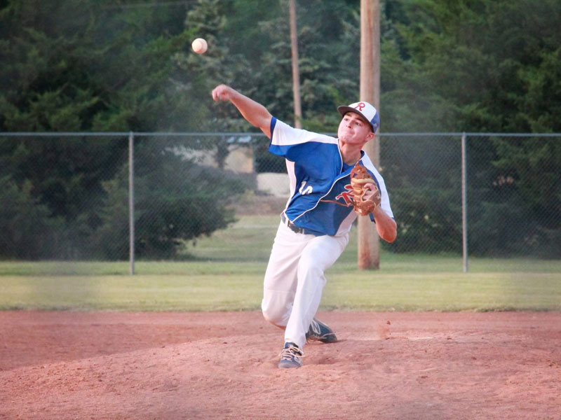 RV's Aiden Rohr throwing pitching in the team's season finale in Sylvan Grove on Wednesday, July 21. (Photo courtesy Chris Roth)