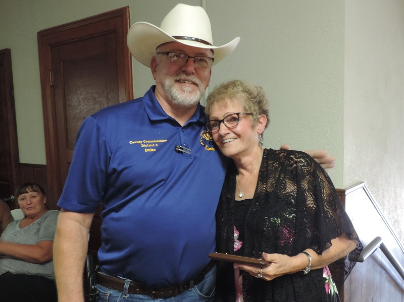 Russell County Commissioner Duke Strobel and Anita Soukup.