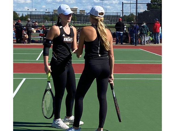 Victoria's Macy Hammerschmidt and MaKenna Wellbrock made the Class 3-2-1A State Tennis Meet on Oct. 15-16 in Maize after finishing sixth at regionals. (Photo courtesy USD 432 Twitter Page)